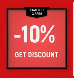 Sale 10 percent off get discount website button vector