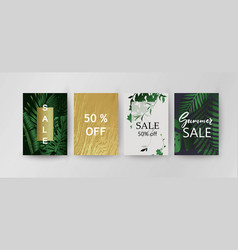sale background template exotic palm leaves card vector image