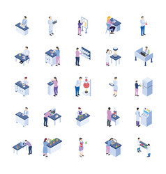 Scientific laboratory isometric icons pack vector