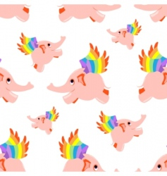 seamless pattern pink flying elephant vector image