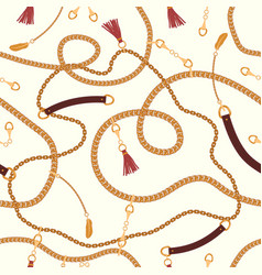 Seamless pattern with chains straps and belts vector