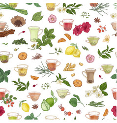 seamless pattern with hand drawn cups with tea vector image