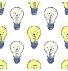 seamless pattern with hand drawn light bulbs vector image