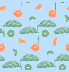 Seamless pattern with tropical leaves and fruit vector
