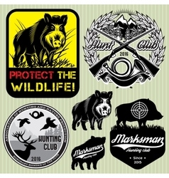 Set template with wild boar for hunting clu vector