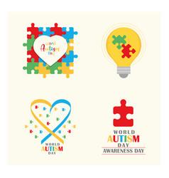 Set world autism awareness day bulb heart ribbon vector