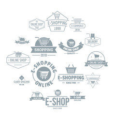 Shopping logo icons set simple style vector