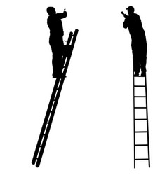 silhouette worker climbing the ladder on white vector image