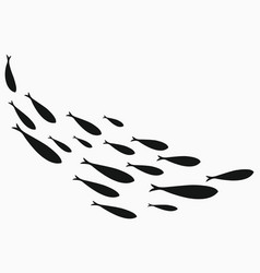 silhouettes groups sea fishes colony of vector image