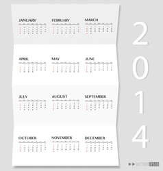 Simple 2014 year calendar vector image
