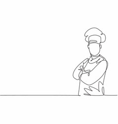 Single one line drawing young attractive man vector
