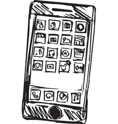 sketch of a smart phone vector image