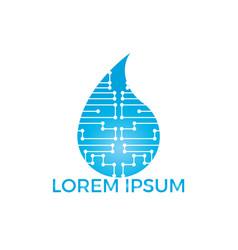 smart technology water logo design vector image