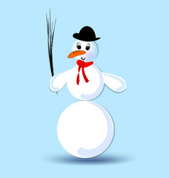 Snowman with silk hat and red scarf isolated vector