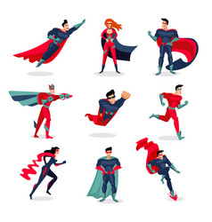 Superheroes characters set vector