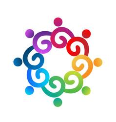Teamwork swirly multi-colored people vector