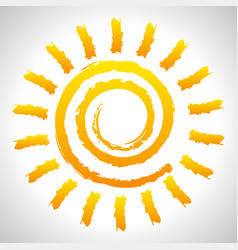textured grungy sun with paintbrush hand drawn vector image
