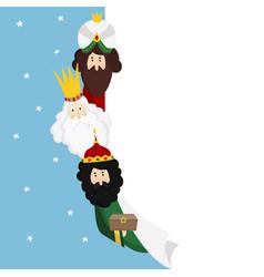 Three magi biblical kings caspar melchior and vector