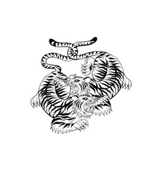 Tiger in thai tradition stylethai tattoo vector