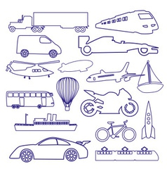 transportation outline blue simple icons set eps10 vector image