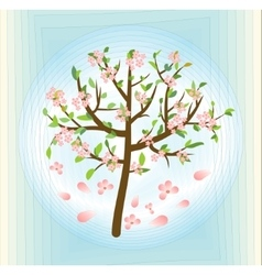 Tree with pink blossom spring theme on abstract vector image