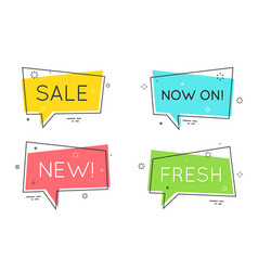 Trendy flat geometric speech bubbles retro vector