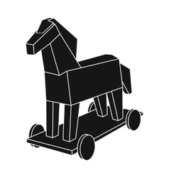 Trojan horse icon in black style isolated on white vector image