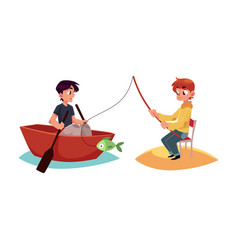 two boys having fun in summer one fishing vector image