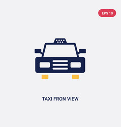 two color taxi fron view icon from ultimate vector image