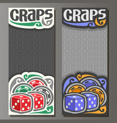 Vertical banners for craps gamble vector