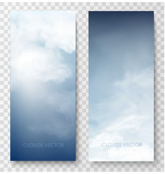 vertical banners with sky and clouds vector image