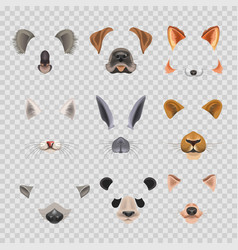 Video chat effects animal faces flat icons vector