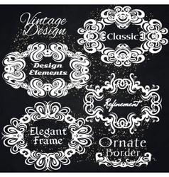 Vintage Frame Set On Black Retro Background vector image