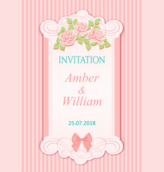 Vintage wedding invitation with roses vector