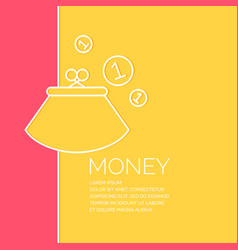wallet and coins in a linear style vector image