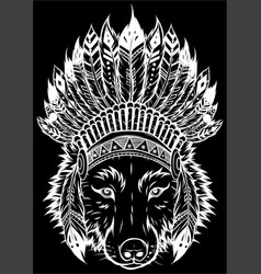 white silhouette indian wolf with feathers hat vector image