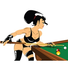 Woman playing snooker vector image