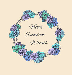 wreath succulents and branches for invitation vector image