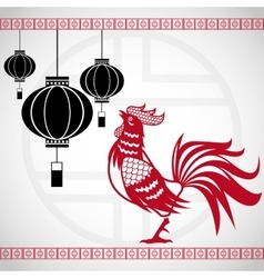 Year rooster chinese calendar lanterns hanging vector