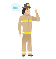 Young caucasian firefighter with speech bubble vector