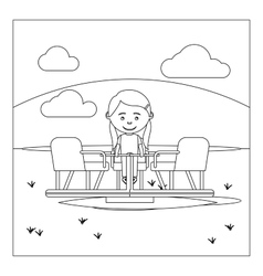 Coloring page with kid on playground vector image vector image