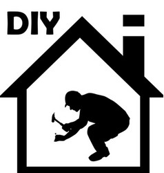 Male manual worker working with hammer vector image