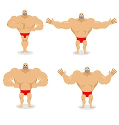 Muscled set poses Expression of emotions athlete vector image vector image