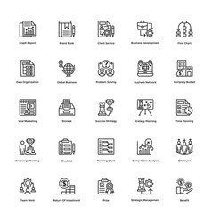 project management line icons set 21 vector image vector image