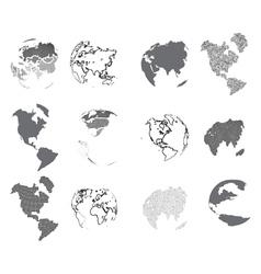 Set of design elements-dotted globes vector image