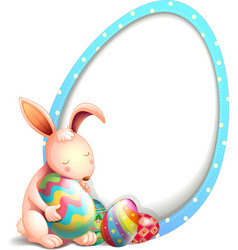 A rabbit with easter eggs beside an egg-shaped vector image