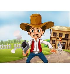 An old man wearing a hat holding a gun with a vector image