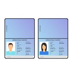 cartoon international male and female passports vector image