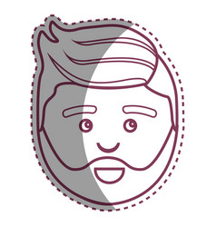 Contour man with beard and hairstyle design vector