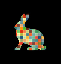 hare wild color silhouette animal vector image